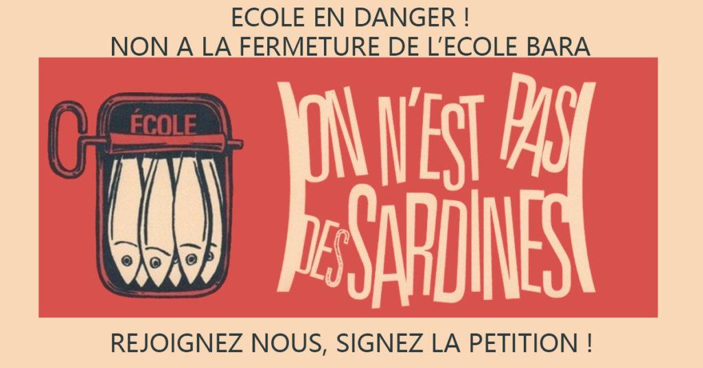 Campagne d'affichage des parents d'élèves contre la fermeture de Bara